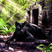 Black Panther Custodian Of Ancient Temple Ruins  Art Print