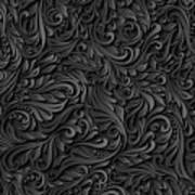 Black Paper Floral Seamless Pattern Art Print