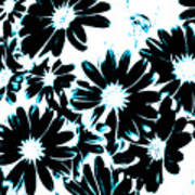 Black Petals With Sprinkles Of Teal Turquoise Art Print