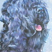 Black Russian Terrier In Snow Art Print