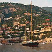 Black Sailboat At Villefranche II Art Print