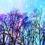 Black Trees Bright Pastel Space Art Print