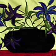 Black Vase With Lilies Art Print