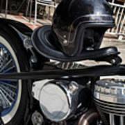 Black Vintage Style Motorcycle With Chrome And Black Helmet Art Print