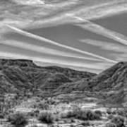 Black White Chem Trails Sky Overton Nevada  Art Print