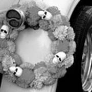 Black White Skulls Classic Car  Art Print