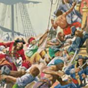 Blackbeard And His Pirates Attack Art Print