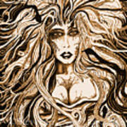 Blackmedusa-sepia Art Print