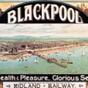 Blackpool, England - Retro Travel Advertising Poster - Seaside Resort - Vintage Poster Art Print