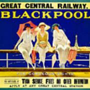 Blackpool, England - Retro Travel Advertising Poster - Three Fashionable Women - Vintage Poster -  Art Print