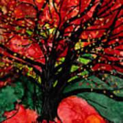 Blazing Red Orange Autumn Tree Art Print