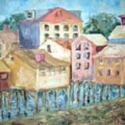 Bldgs In Boothbay Harbor Art Print