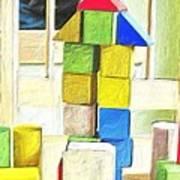 Blocks At Night Art Print