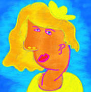 Blond Girl In A Yellow Hat Cubism Style Art Print