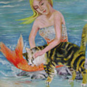 Blond Mermaid And Cat Art Print
