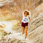 Blond Woman Trail Runner Art Print