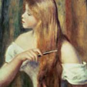 Blonde Girl Combing Her Hair Art Print by Pierre Auguste Renoir