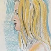 Blonde With Long Hair Art Print