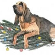 Blood Hound Christmas Art Print