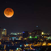 Blood Moon Over Downtown Art Print
