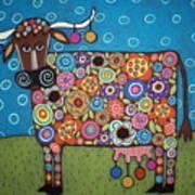Blooming Cow Art Print by Karla Gerard