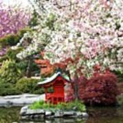 Blossoms Abound In The Japanese Garden Art Print