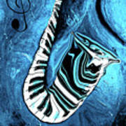 Piano Keys In A Saxophone Blue 2 - Music In Motion Art Print