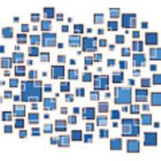 Blue Abstract Rectangles Art Print by Frank Tschakert