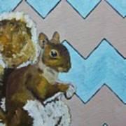 Blue And Beige Chevron Squirrel Art Print