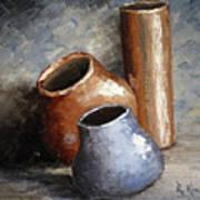 Blue And Brown Pots Art Print