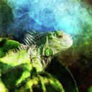 Blue And Green Iguana Profile Art Print