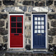 Blue And Red Doors Art Print