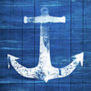 Blue And White Anchor- Art By Linda Woods Art Print
