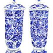 Blue And White Chinoiserie Vases Art Print