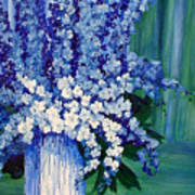 Blue And  White Delphiniums In Vase  Art Print