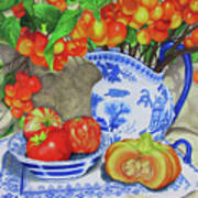 Blue And White Porcelain With Cherries Art Print