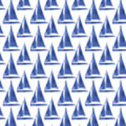 Blue And White Sailboats Pattern- Art By Linda Woods Art Print