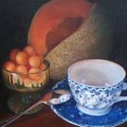 Blue And White Teacup And Melon Art Print