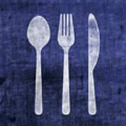 Blue And White Utensils- Art By Linda Woods Art Print