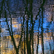 Blue And Yellow Abstract Reflections Art Print