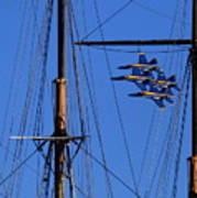 Blue Angels Pass Behind Masts Of The Balclutha At Hyde Street Pier Art Print
