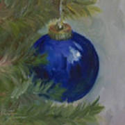 Blue Ball On Christmas Tree Art Print