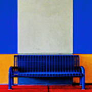 Blue Bench Art Print