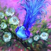 Blue Bird Christmas Wish Art Print
