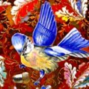 Blue Bird Leaves Art Print