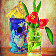 Blue Birdhouse And Red Tulips 2 Art Print