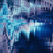 blue blurred abstract background texture with horizontal stripes. glitches, distortion on the screen broadcast digital TV satellite channels Art Print