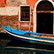 Blue Boat Venice Italy Art Print