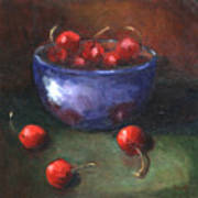 Blue Bowl And Cherries Art Print