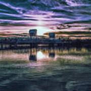 Blue Bridge At Sunset Art Print